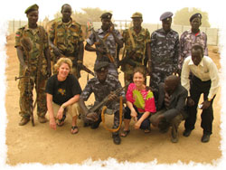 Karen & Judy with Sudanese soldiers